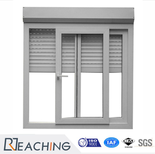 China Supplier 2 Tracks Aluminium Frame Sliding Glass Window with Shutter