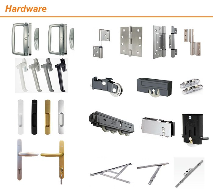 Aluminium Grid Windows and Doors with Windproof Hardware Size According to Requirement