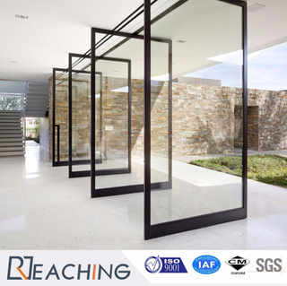 High End Design Aluminium Door Revolved Open Tempered Glass