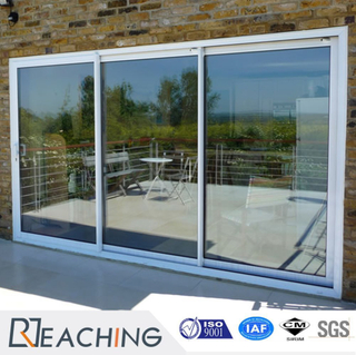 3 Panel 3 Rail Both Casing Cover High Clear Glass UPVC Sliding Door