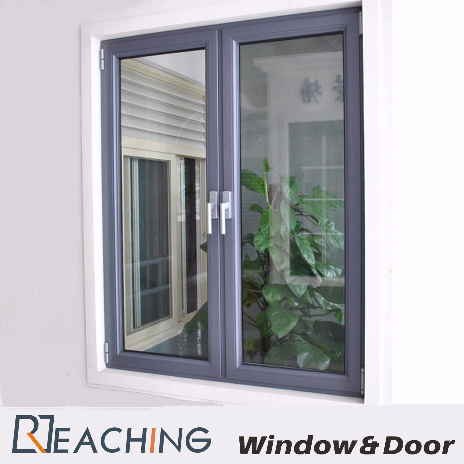 Elegant Aluminium Window Sound Proof Double Glass with Thermal Break Structure