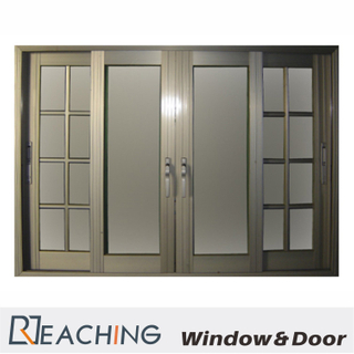 Golden Color Aluminium Window with Security Grid and Anti Fly Mesh According to Requirments