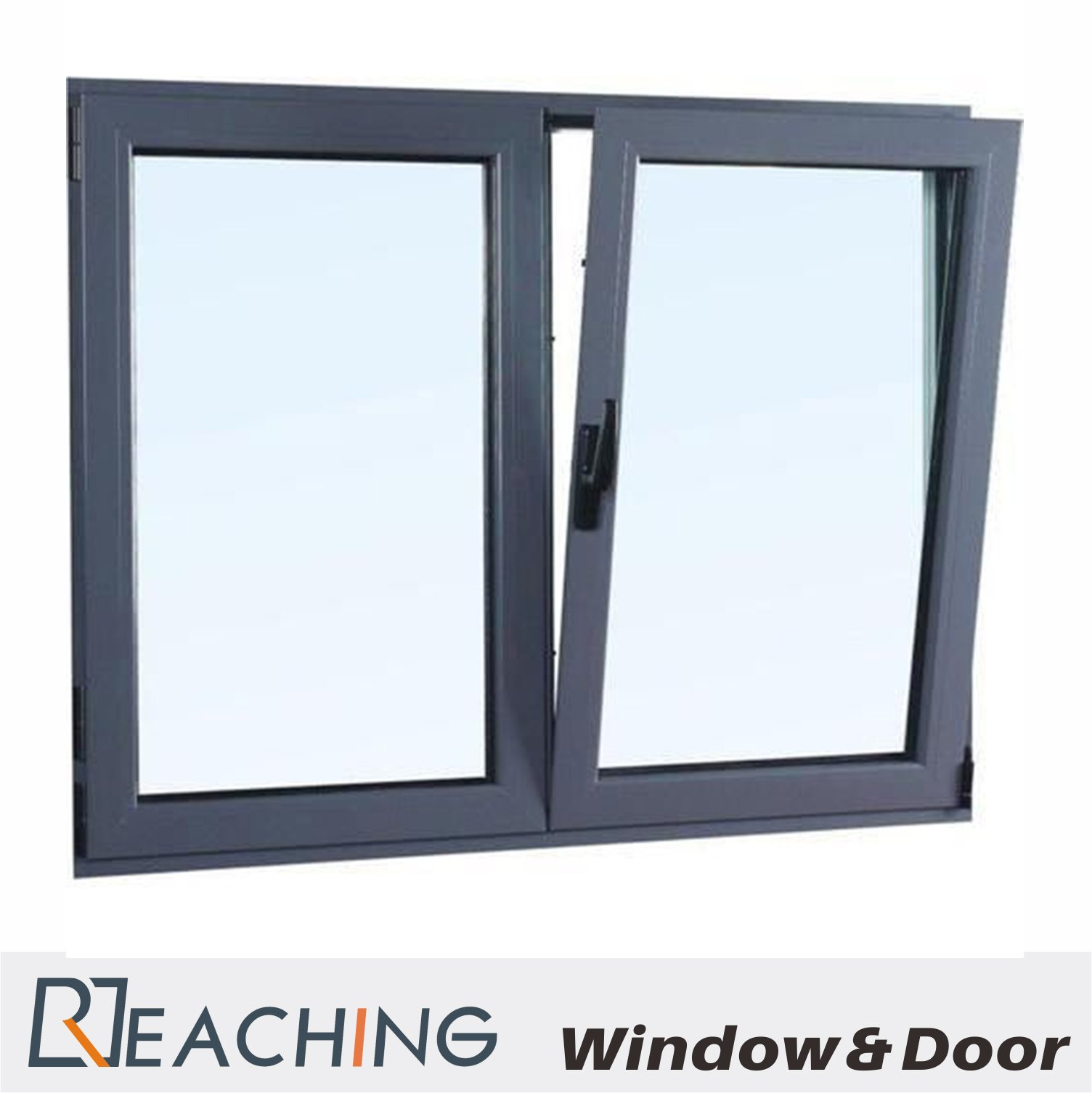 Elegant Grey Color Tilt and Turn Window Metal Casement Windows for Europe Style Two Open Way