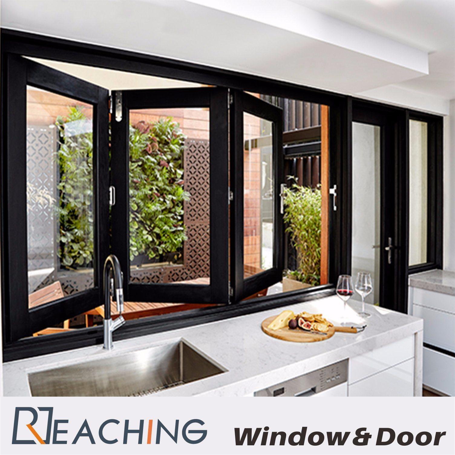 Kitchen Aluminium Windows And Doors Folding Open With Water Proof Durable Hardware
