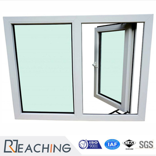 Double Door Casement PVC Plastic Window with Vertical Supporter Tempered Glass Mesh for Selected