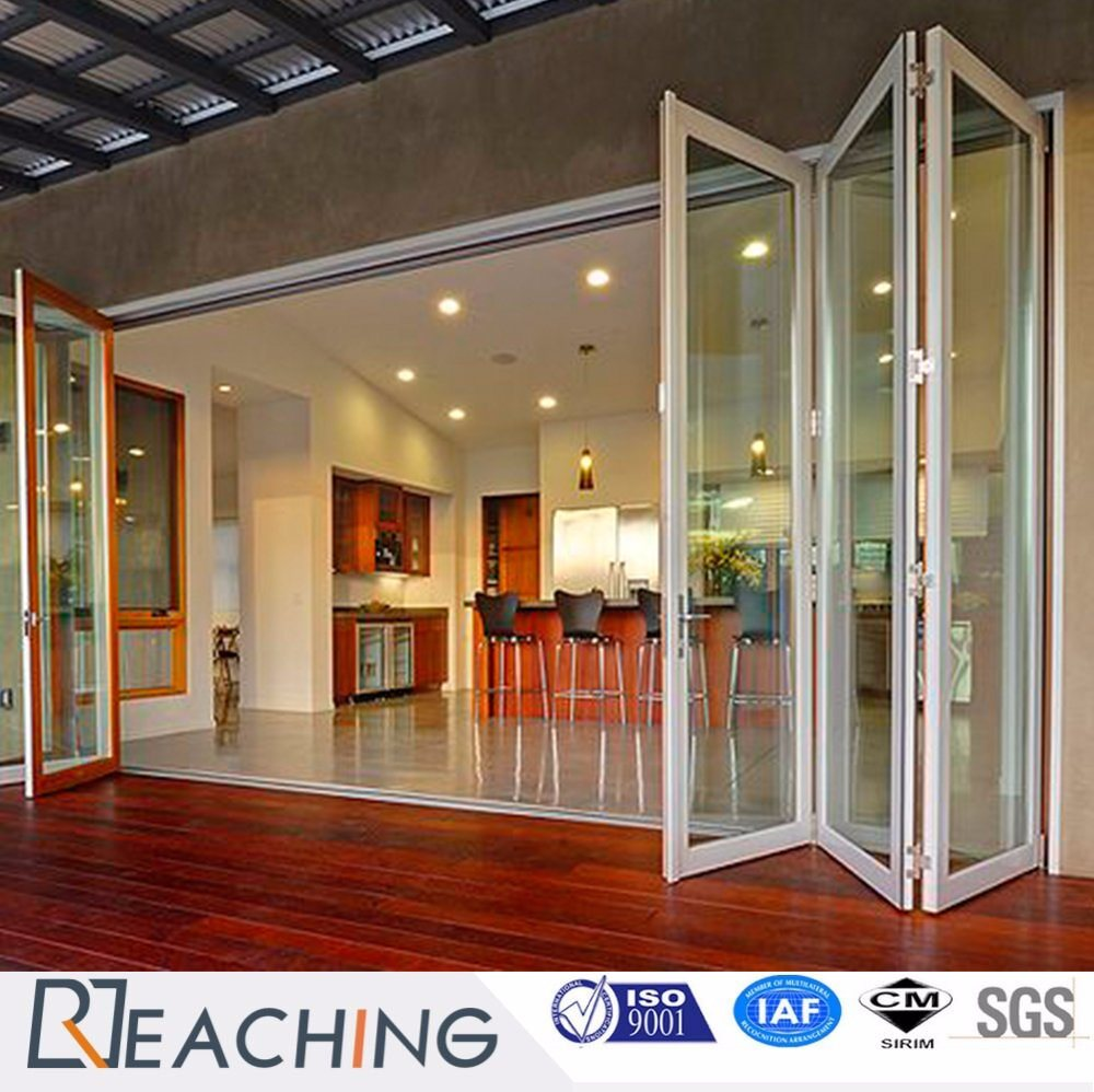 Aluminium Frame Folding Door Anti Rust Tempered Gl With Argon Gas Insulated