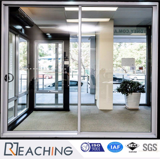 Silvery Aluminium Alloy Sliding Door with D Handle High Gloss Glass