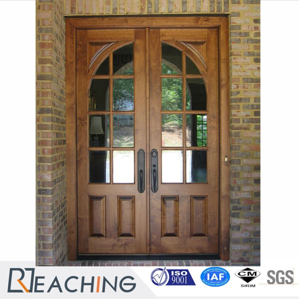 Rustic Style Glass Steel Wood Door for High End Customized